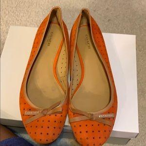 Coach Orange Suede Flat with tan leather trim